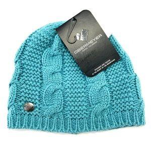 Obermeyer Womens Cable Knit Laguna Cay Blue Beanie